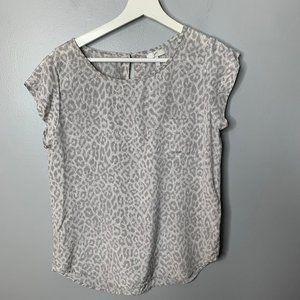 Joie Gray Animal Print Silk Blouse